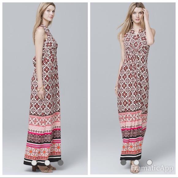 White House Black Market Dresses & Skirts - WHBM Twist Printed Knit Maxi Dress
